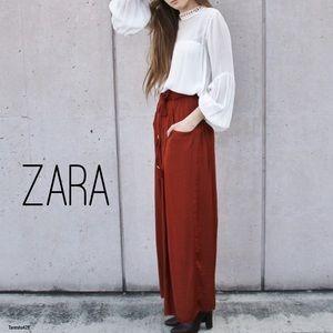 Dark Red Palazzo Pants by ZARA